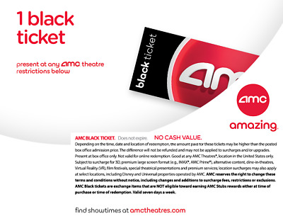 AMC Theatres 1 Black Ticket Movie E-Ticket Fast Delivery no expiration