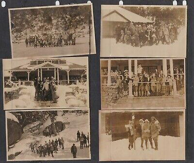 6 original old photos people  snow skiing Australian Alps NSW 1920's