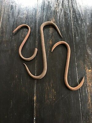 (3) Vintage Butchers Meat Hook - 'S' Hook 3 DIFFERENT SIZES. #3