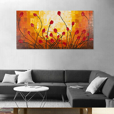 120*60cm Wood Frame Abstract Flowers Handmade Oil Painting Stretched Canvas