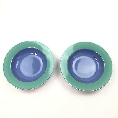 Two Lindt Stymeist Japan Colorways Pasta Bowls Blue Turquoise Flat Rimmed
