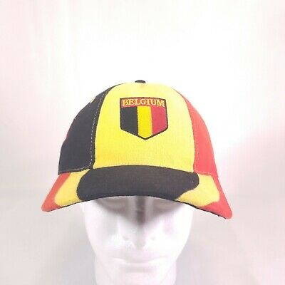 BELGIUM COUNTRY FLAG HAT CAP BLACK RED EUROPE Football SOCCER yellow H1