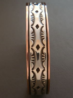 """Mens Copper and Sterling Silver Bracelet Native American 7 1/4"""" - 7 3/4"""" wrist"""