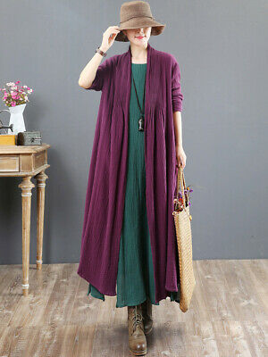 2019 Womens Outwear Ethnic Style Long Sleeve Cotton Linen Retro Cardigans Coats