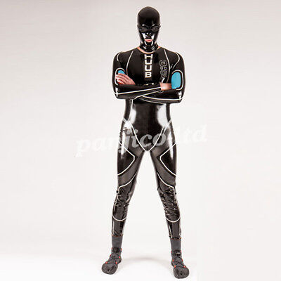 Latex Rubber Man Handsome Cool Racing Suits Hooded Catsuit Full BodySizeXXS-XXL