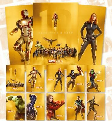 Marvel 10th Years Anniversary Avengers Gold Posters Collection Limited Edition