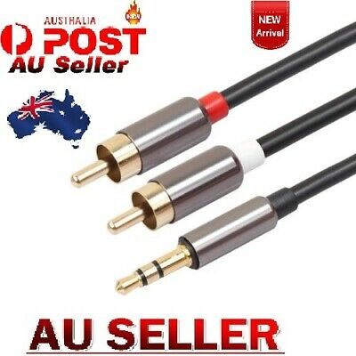 Premium Gold Plated Stereo Audio 3.5mm Aux Jack to 2 RCA Cable BHF AUS SELL