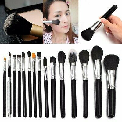 Soft 15Pcs Pro Face Powder Makeup Brushes Set Eyeshader Blending Highlight Tool