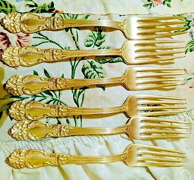 6 Pc Reed & Barton silver-plated  Dinner Forks Flatware Excellent