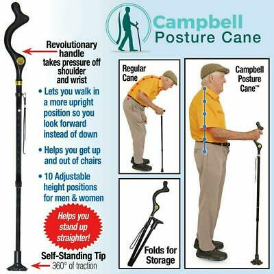 For Old Man Posture Cane - Foldable Walking Cane with Adjustable Heights Safe
