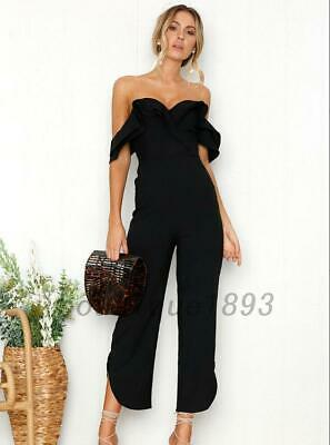 Off Shoulder Wedding Evening Party Jumpsuit Wide Leg Palazzo Pants Playsuit AU