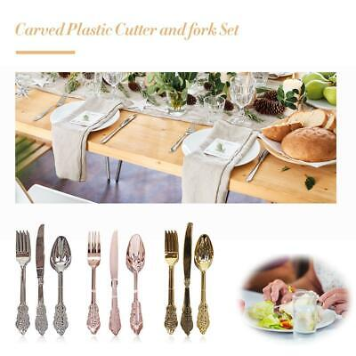 Carved Plastic Cutlery 18pcs Each Forks Knives and Spoons disposable party BBQ
