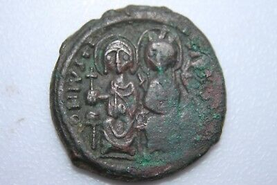 ANCIENT BYZANTINE JUSTIN II BRONZE FOLLIS COIN 6th CENTURY AD