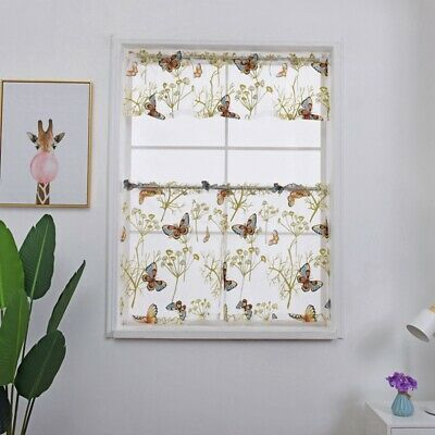 Kitchen Butterfly Window Curtain Floral Sheer Voile Valances Home Decor Valances