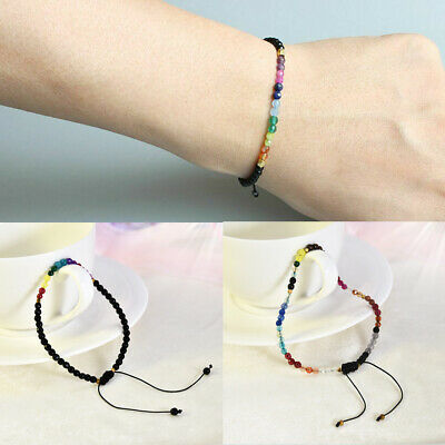 12 Constellation Rainbow Lucky Stone Bracelet 3mm Beads Chakra Boho Bracelets