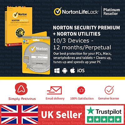 Norton Security Premium 2019 10 Devices + Utilities Tuneup v16 Delivery by Email