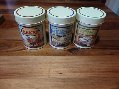 3 Maxwell House round  tins- The  Baker, Milkman and the Pie