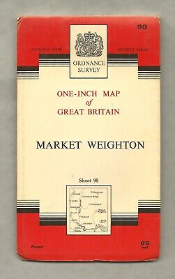 Ordnance Survey map sheet 98 MARKET WEIGHTON, Seventh series 1966, vg