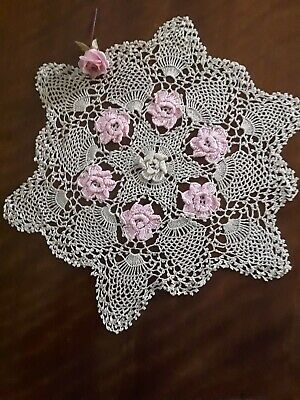 Vintage Hand Crochet Pink And Coffee Doilie