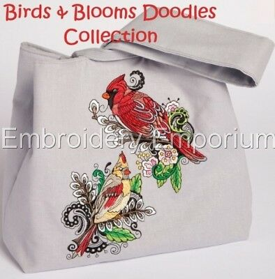 Birds & Blooms Doodles Collection - Machine Embroidery Designs On Cd Or Usb