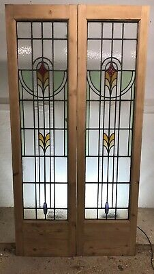 Art Deco Stained Glass Doors Antique Period Reclaimed Old French Wooden Leaded