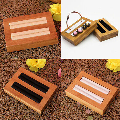 Solid Wood Ring Stud Display Trays with Microfiber for Jewelry Storage Stand