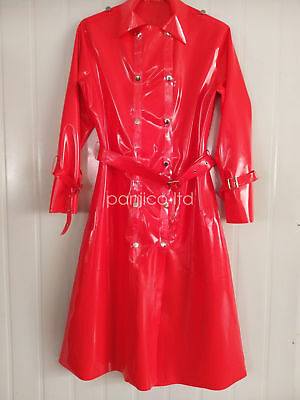 100% Latex Rubber Handsome Windbreaker Red Button with Belt Coat Size S-XXL