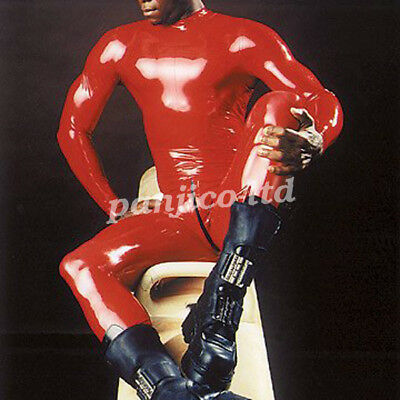 New Latex Gummi Rubber Handsome Man Red Tights Catsuit Full Body Size XXS~XXL