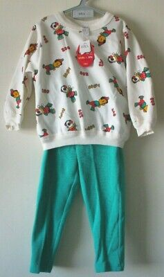 VTG Retro 1990s PJs 2 piece SOOTY & SOO Kids TV Character Cream Green 4 yrs NEW