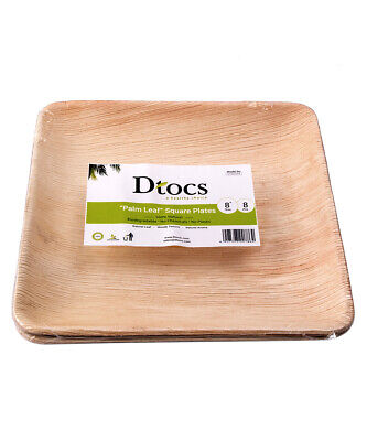 Dtocs Palm Leaf Square Party Plates, Chemical Free, Biodegradable & Eco Friendly
