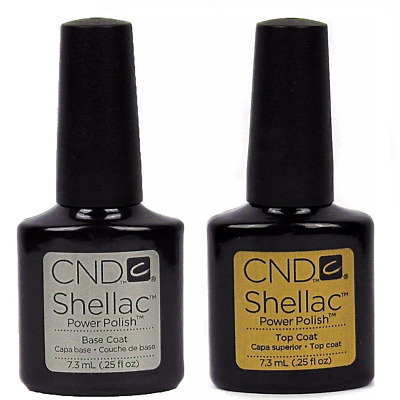 CND Shellac Power Polish Gel UV Base Coat and Top Coat 7.3ml -Brand New & Packed