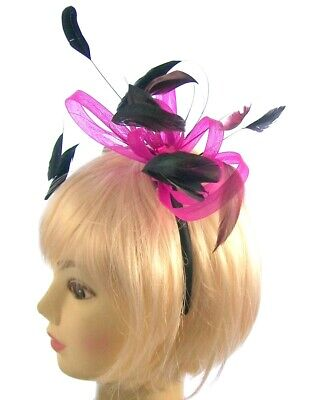 Pink & black feather fascinator headband for Ascot , Races, Weddings, Ladies Day