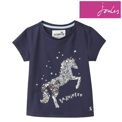 Joules Official Badminton Girls Sequin Horse T-Shirt **FREE UK Shipping**