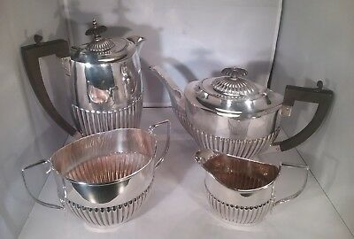 Antique silver plated 4 piece tea service fluted design