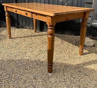 Ducal Pine Victoria Range Kitchen Dining Table With Drawer