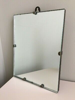 Small Vintage Frameless Wall Mirror Simple Scandi Old 1940s 1950s 22x18cm m200