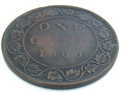 1900 H C4 Canada 1 One Cent Large Penny Copper Circulated Victoria Coin J451