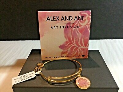 NWT Authentic ALEX AND ANI Lotus Peace Petal Heart Bangle Shiny Gold NWT