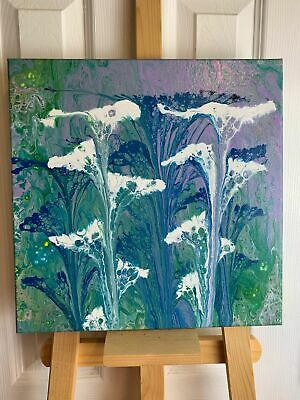 """14""""x14"""" Abstract Acrylic Fluid Art, Green, Blue & White Chain Pull"""