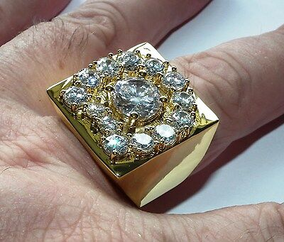 Luxury Elvis crystal aloha horse shoe ring in 18 gold plate a great ring Size 9