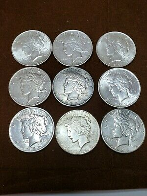 Lot Of 9 Peace Silver Dollars, $1 Coins 3 1922, 3 1923, 1 1924, 1 1925, 1 1926