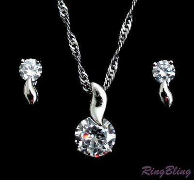 Half Price To Clear 18K White Gold Zircon Crystal Necklace And Earring Gift Set!