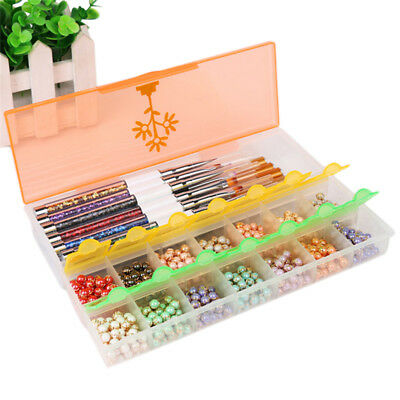 Rhinestones Nail Art Pen Storage Case Assorted Mix Gem Designs Tips UV Gel Deco