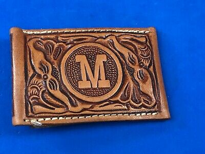 Stitched leather belt buckle Initial Letter M - Mary, Mark, Mel, Molly!