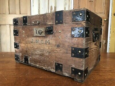 Vintage Wooden Metal Banded Box With Handles Small Chest