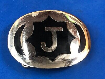 Vintage Silver and Black Color - Quality belt buckle with initial letter name, J
