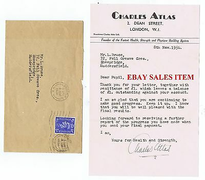 CHARLES ATLAS Historic Strength Physique Body Builder   Signed Letter 1950  RARE
