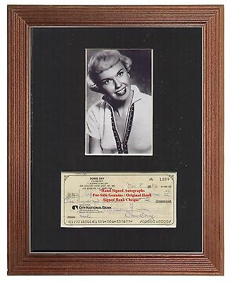 Doris Day  Authentic Early Hand Signed Cheque Display 1986  Display Very Rare