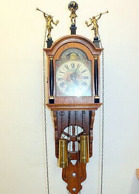 Old Wall Clock Dutch Schippertje Clock Vintage with Moonphase Warmink
