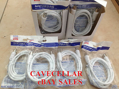 BARGAIN Job Lot  25 x Aerial Cable Leads 1.2m TV DVD SAT VCR  Brand New Packaged